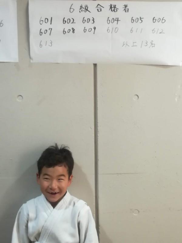 6級合格の1年生Yくんおめでとうございます!